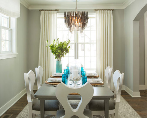 Beach Style Dining Room Idea In Minneapolis With Gray Walls