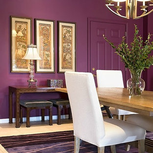 Design ideas for a mid-sized eclectic separate dining room in Milwaukee with purple walls, ceramic floors and no fireplace.