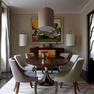 Inspiration For A Classic Enclosed Dining Room In London With Beige Walls  And Carpet.