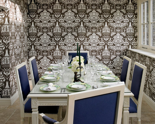 Dining Room Wallpaper Ideas Design For A Traditional Enclosed In London With