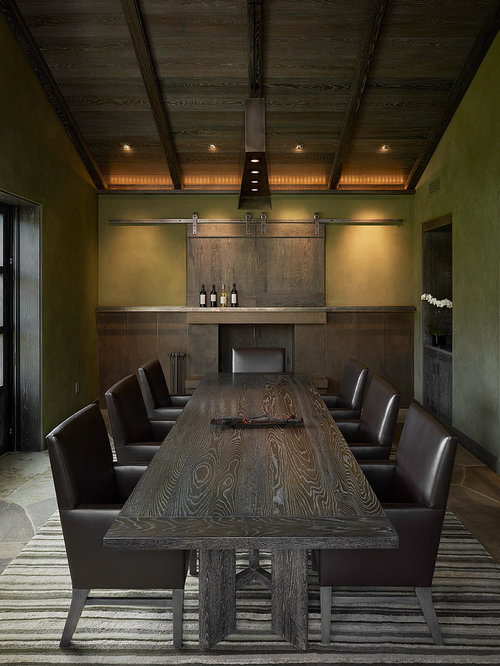 Conference Room Design Ideas 1000 ideas about conference room design on pinterest conference room meeting rooms and conference table Example Of A Trendy Dining Room Design In San Francisco With Green Walls And Slate Floors