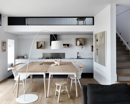 Design Ideas For A Scandinavian Open Plan Dining In Melbourne With White Walls Light Hardwood