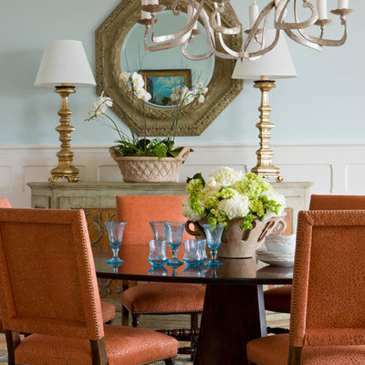 Mid-sized elegant enclosed dining room photo in Charleston with blue walls and no fireplace