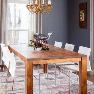 Inspiration For A Mid Sized Transitional Medium Tone Wood Floor And Brown  Floor Dining Room