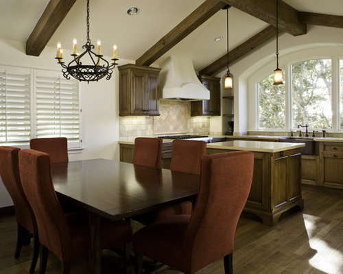 Best timber framed ceiling design ideas remodel pictures for Best transitional dining rooms