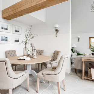 Medium sized rural open plan dining room in Other with limestone flooring, white walls and grey floors.