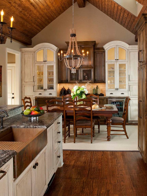 Elegant Kitchen Dining Room Combo Photo In Dallas With Beige Walls And Dark Wood Floors