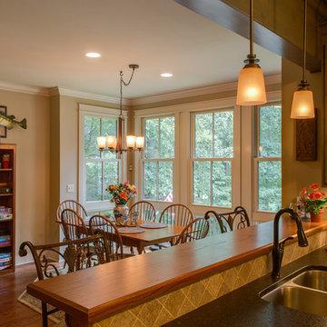 Kitchen Peninsula to Dining to Lake View
