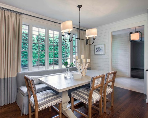 Example Of A Transitional Kitchen Dining Combo Design In Charlotte With White Walls And Dark