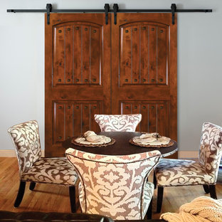 Knotty Alder 2 Panel double rolling door with Philmont rolling hardware and squa
