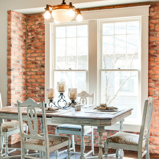 Photo of a shabby-chic style dining room in Nashville with beige walls, dark hardwood floors and brown floor.