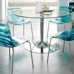 L'eau Chair by Calligaris - L'EAU Dining Chair. This chair is stackable 4 chairs high. Pictured with Planet table.