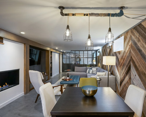Great Room Industrial Concrete Floor And Gray Great Idea In Portland With A  Our 50 Best Industrial Dining Room Ideas Designs Houzz