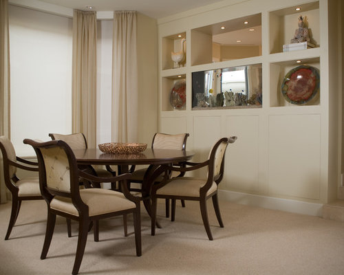 Awesome Mid Sized Trendy Carpeted Enclosed Dining Room Photo In San Diego With  Beige Walls