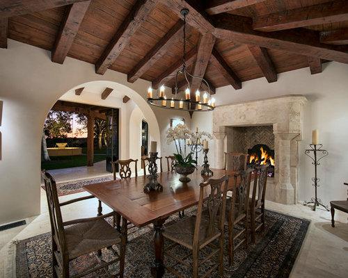 Enclosed Dining Room   Mediterranean Beige Floor Enclosed Dining Room Idea  In Santa Barbara With White