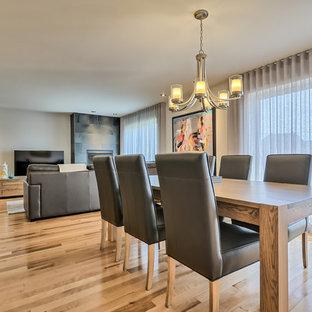Esempio di una sala da pranzo aperta verso la cucina minimal di medie dimensioni con pareti grigie, pavimento in legno massello medio, camino sospeso, cornice del camino in pietra e pavimento marrone