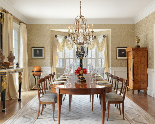 large dining room design ideas renovations photos with yellow walls