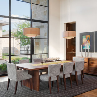 Example of a large trendy medium tone wood floor and brown floor enclosed dining room design in Austin with white walls and no fireplace