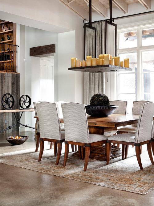 Large Square Table Part - 16: Elegant Concrete Floor Dining Room Photo In Houston