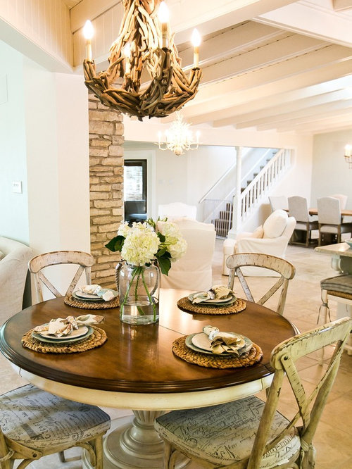 Inspiration For A Shabby Chic Style Dining Room Remodel In Austin With  White Walls