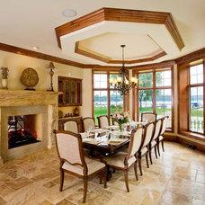 Mediterranean Dining Room by Barenz Builders