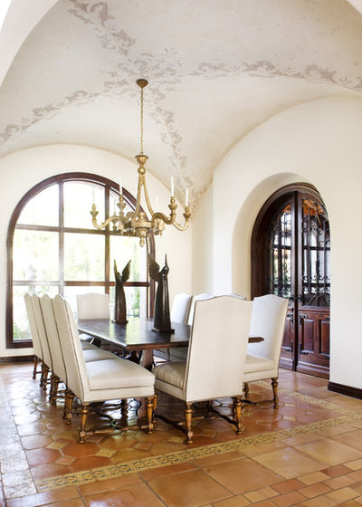 Mediterranean Dining Room by JAUREGUI Architecture Interiors Construction