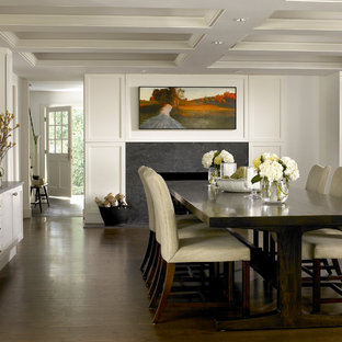 Transitional dark wood floor and brown floor dining room photo in Chicago with white walls and a standard fireplace