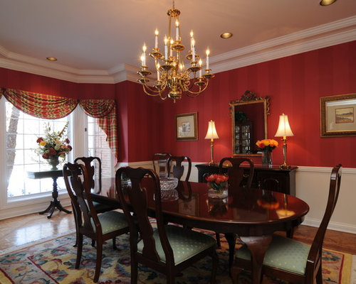 Small dining room design ideas remodels photos with red for Dining room decorating ideas red walls