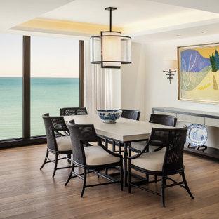 Idee per una sala da pranzo aperta verso il soggiorno contemporanea di medie dimensioni con pareti bianche, parquet chiaro e soffitto ribassato