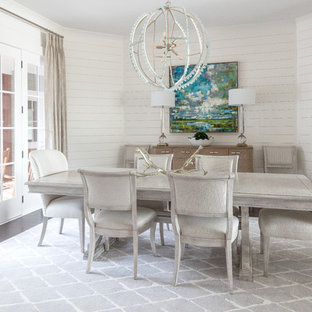 Inspiration For A Beach Style Dark Wood Floor And Brown Floor Dining Room  Remodel In Charlotte