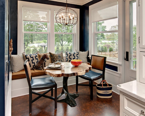 mid sized transitional cork floor dining room idea in minneapolis with blue walls - Cork Dining Room Design