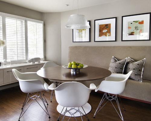 inspiration for a modern dining room remodel in detroit with gray walls and dark hardwood floors - Dining Room Remodel Ideas