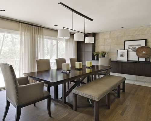 Inspiration For A Mid Sized Contemporary Dining Room Remodel In Detroit  With Beige Walls And