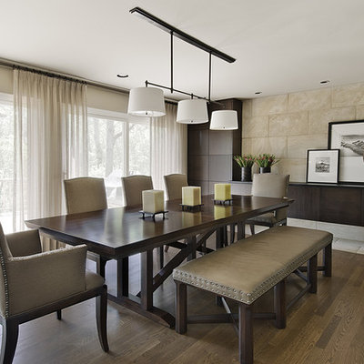 Inspiration for a mid-sized contemporary medium tone wood floor dining room remodel in Detroit with beige walls and no fireplace