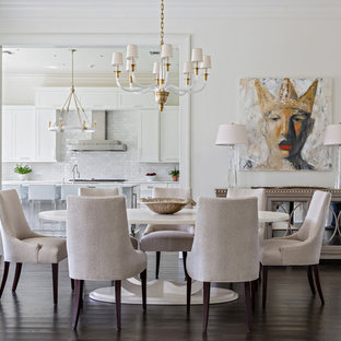 Inspiration For A Mid Sized Transitional Dark Wood Floor Dining Room Remodel In New Orleans