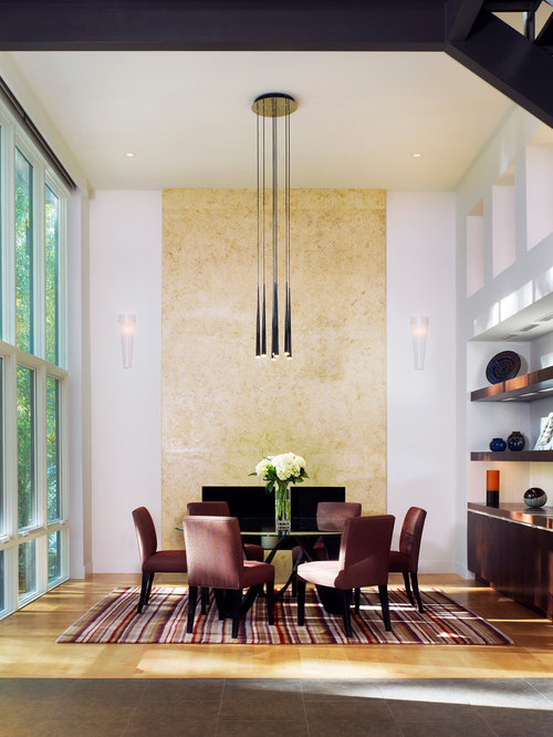 Contemporary Dining Room Idea In DC Metro With White Walls And Medium Tone Wood Floors