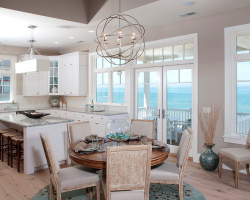Example Of A Coastal Medium Tone Wood Floor Kitchen/dining Room Combo  Design In Grand
