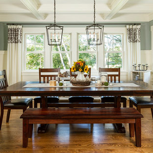 Dining room - mid-sized traditional medium tone wood floor dining room idea in Minneapolis with gray walls