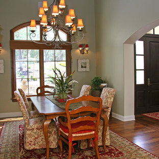 Inspiration for a timeless dark wood floor dining room remodel in Sacramento with green walls