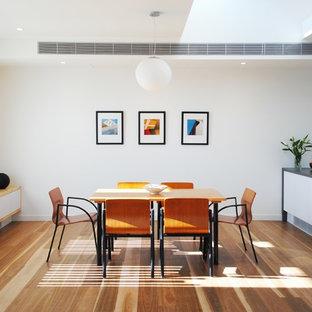 Imagen de comedor de cocina contemporáneo, pequeño, sin chimenea, con paredes blancas y suelo de madera en tonos medios