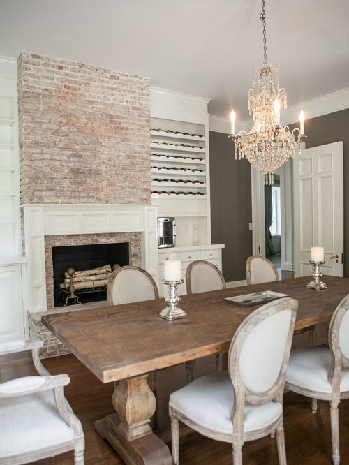 Traditional dining room design ideas remodels photos for Traditional dining room fireplace