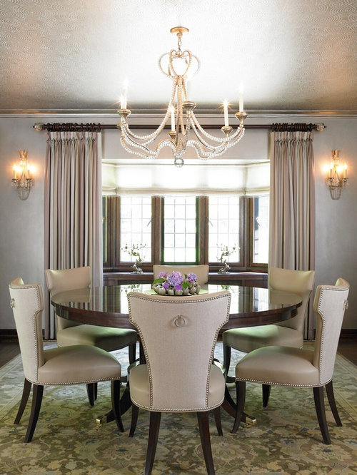 Elegant Dining Room Photo In New York With Gray Walls