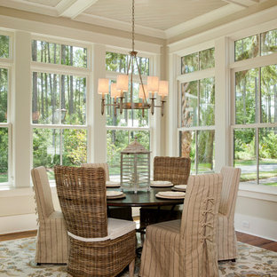 Striped Dining Chair Slipcovers Inspiration For A Beach Style Medium Tone Wood Floor Room Remodel In Charleston With Beige
