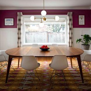 ポートランドのトランジショナルスタイルのおしゃれな独立型ダイニング (ピンクの壁、無垢フローリング、青い床) の写真