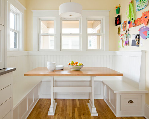 Inspiration For A Small Timeless Medium Tone Wood Floor And Brown Kitchen Dining Room
