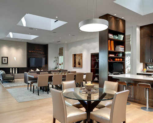 Inspiration For A Contemporary Light Wood Floor Great Room Remodel In  Dallas With White Walls