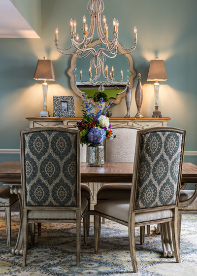 Transitional Dining Room by R Designs, LLC.