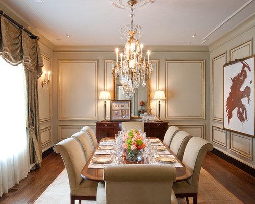 Example Of A Classic Dark Wood Floor Dining Room Design In Nashville With Beige Walls