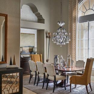 Foto de comedor clásico con paredes grises y suelo de mármol