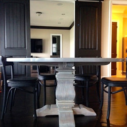 Lifestyle - TY to our client for sending us a picture of her space with her new custom table base made from yours truly Barrio Antiguo Houston Texas (713)8802105